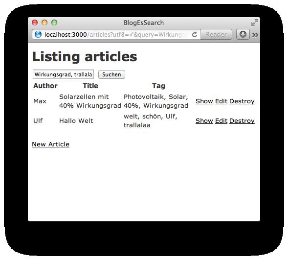 Browserscreenshot mit Auflistung der Artikel